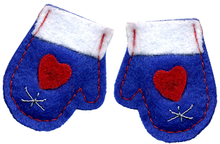 felt blue snow mittens