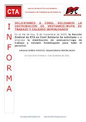 SOLICITAMOS A CONIL SOLIDARIO LA DISTRIBUCIÓN DE VESTUARIO/ROPA DE TRABAJO Y CALZADO HOMOLOGADO