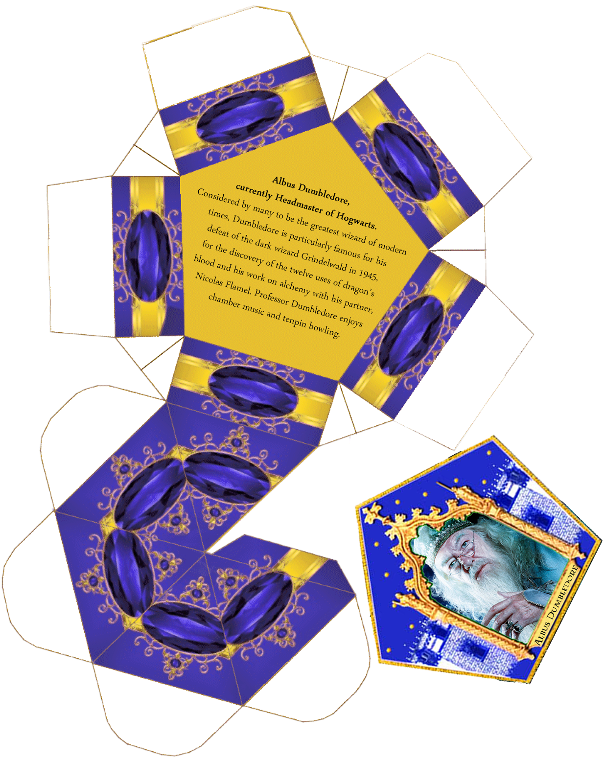 This is the Albus Dumbledore Chocolate Frog Card and template. The ...