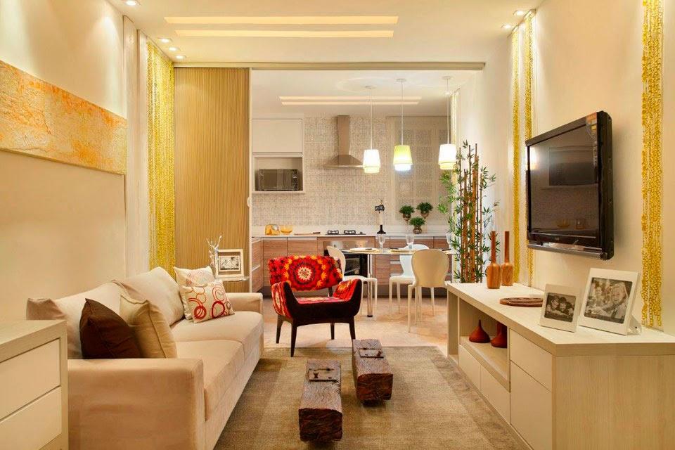 Sala Pequena Integrada Com Cozinha ~ 20 Cozinhas e salas integradas e pequenas  veja ótimas ideias para