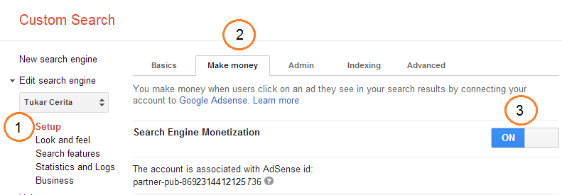 Monetasi Google Custom Search dengan Adsense