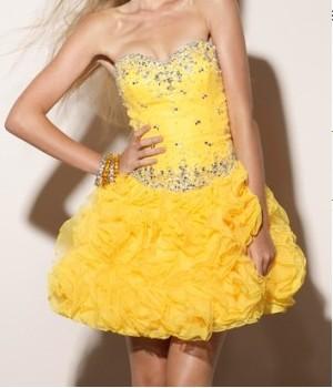 Strapless design unique custom made real sample wedding yellow dress