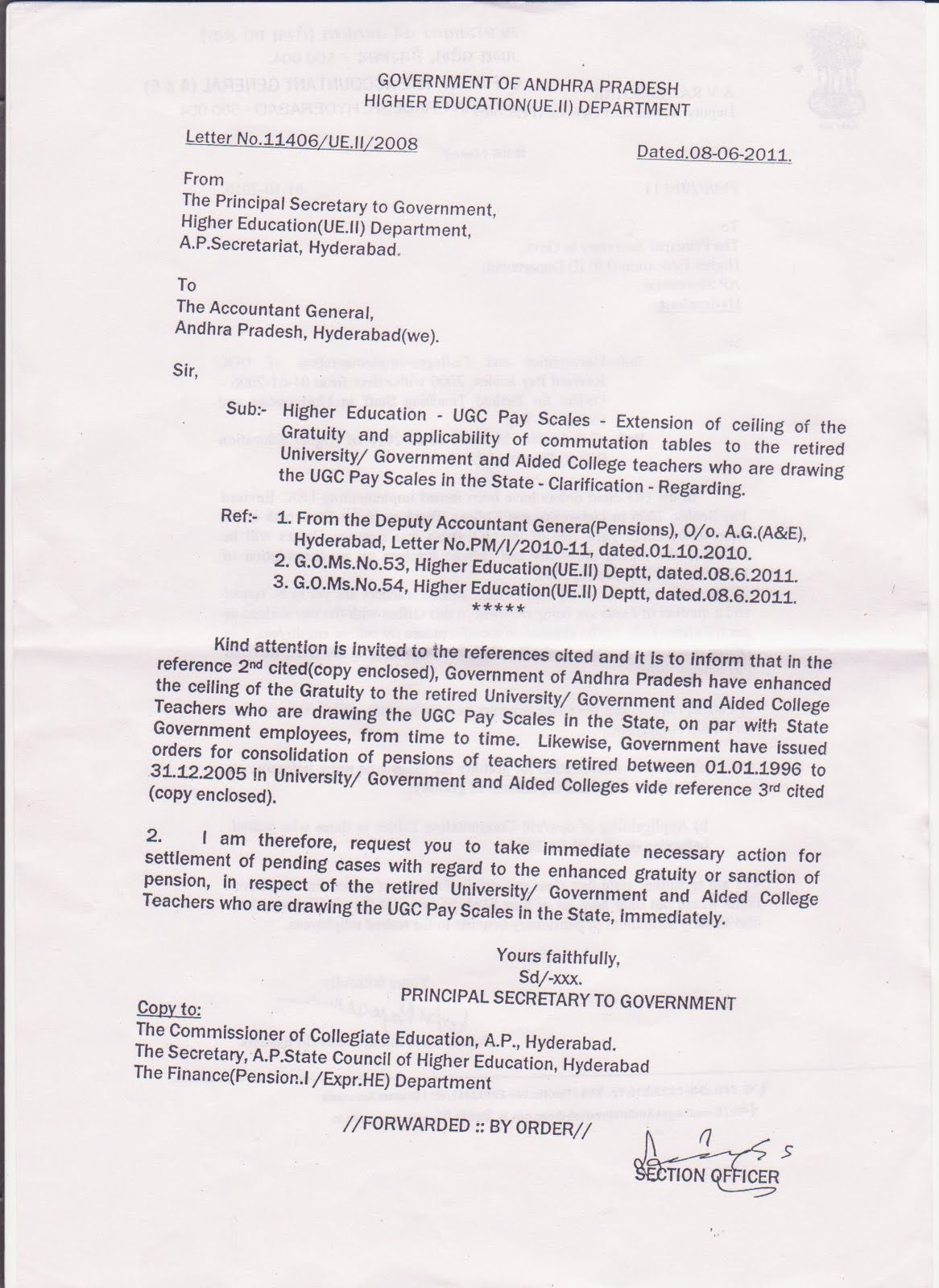 Retired college teachers association of telangana letter from letter from principal secretary to ag thecheapjerseys Images