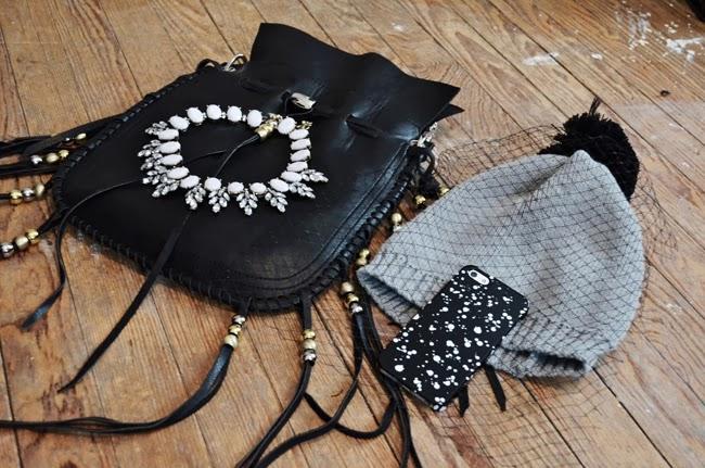 beaded fringe bag - Kate Spade Saturday iPhone case - veil beanie