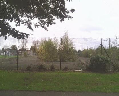 Derelict tennis courts at Murray Park recreation ground in Ipswich, Suffolk
