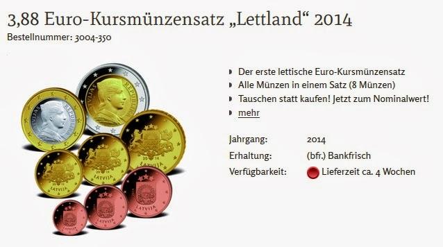 Kursmünzensatz Lettland