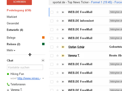 Intelligente Navigation in Google Mail