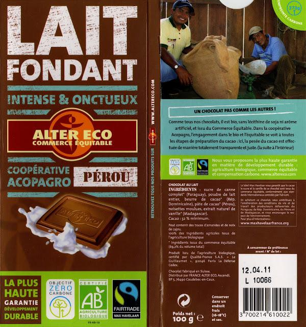 tablette de chocolat lait dégustation alter eco pérou lait fondant