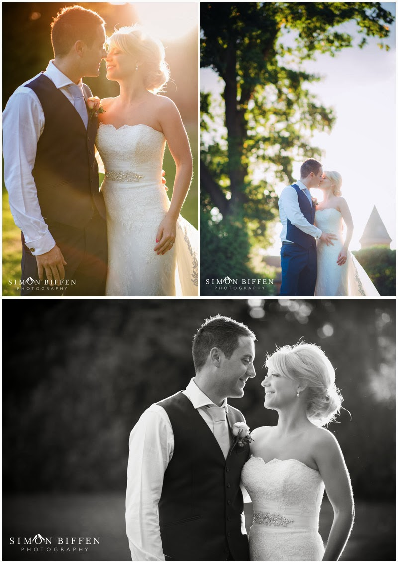 Bride and Groom backlit evening sun
