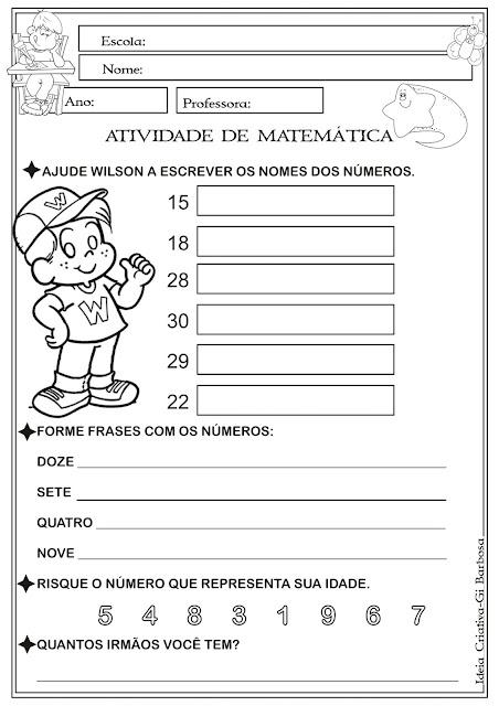 Atividade Matemática Números até 30