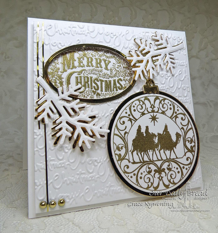 Stamps - Our Daily Bread Designs Merry Christmas Ornament, Wisemen Ornament, ODBD Custom Matting Circles Dies, ODBD Custom Circle Ornament Dies, ODBD Custom Fancy Foliage Dies