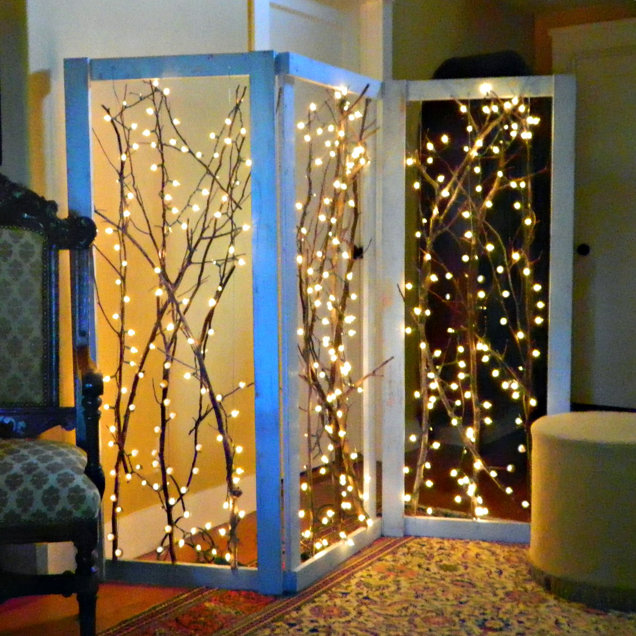 Mark montano twinkling branches room divider diy for How to light up a room