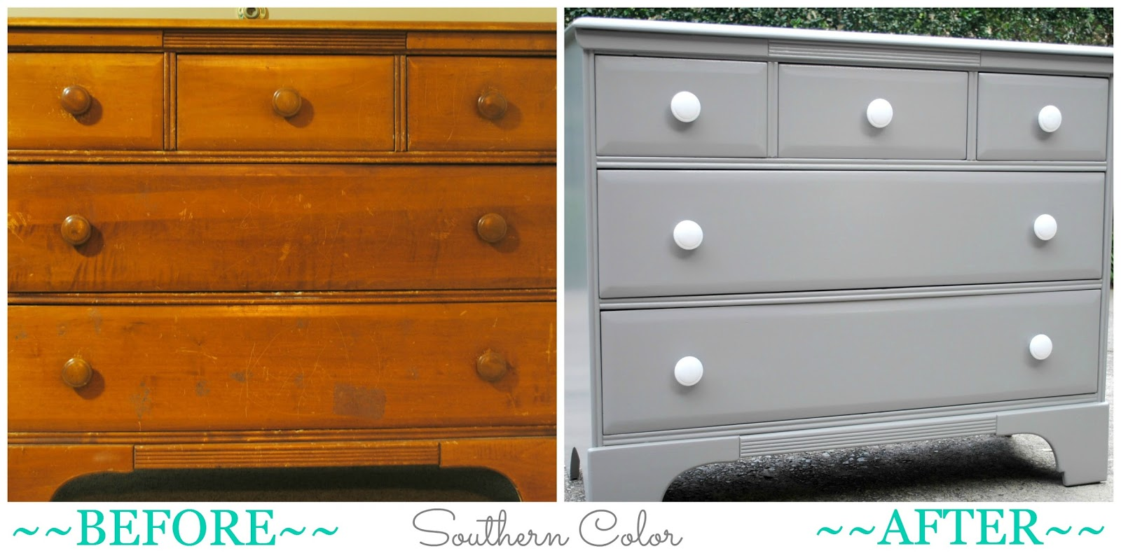 I love using modern paint colors on antique pieces  This piece is going to  make a great changing table in the couple s nursery. Southern Color  Painted Furniture  Grey Changing Table