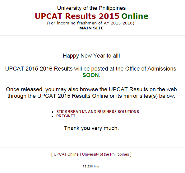 UPCAT Results 2015-2016 Passers