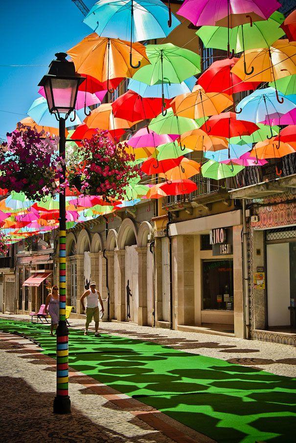 Umbrella Street In Agueda,Portugal