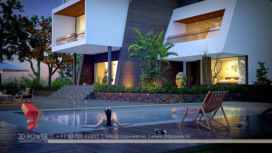 3D Rendering Animation Of Swimming Pool In Bungalow