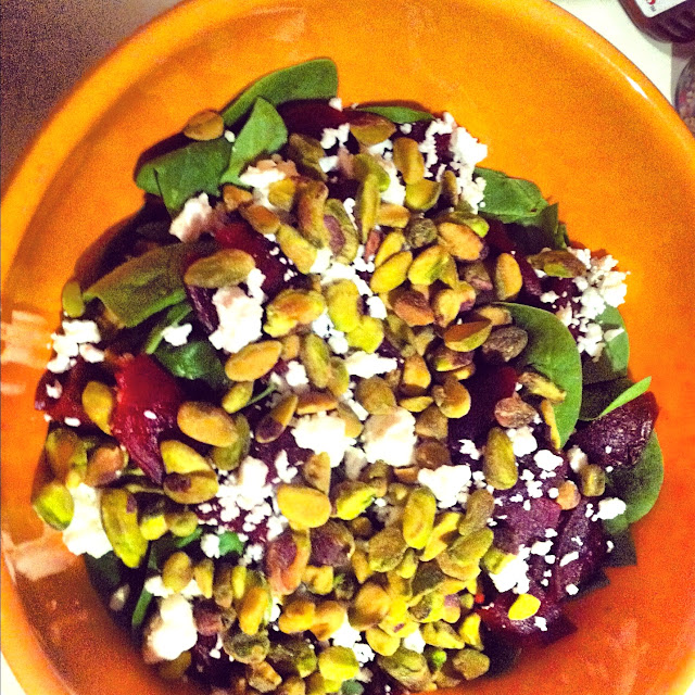 ... Spinach, Beet & Feta Salad with a Side of Savory Pasta and Friendship