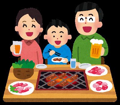 焼き肉を食べている家族のイラスト