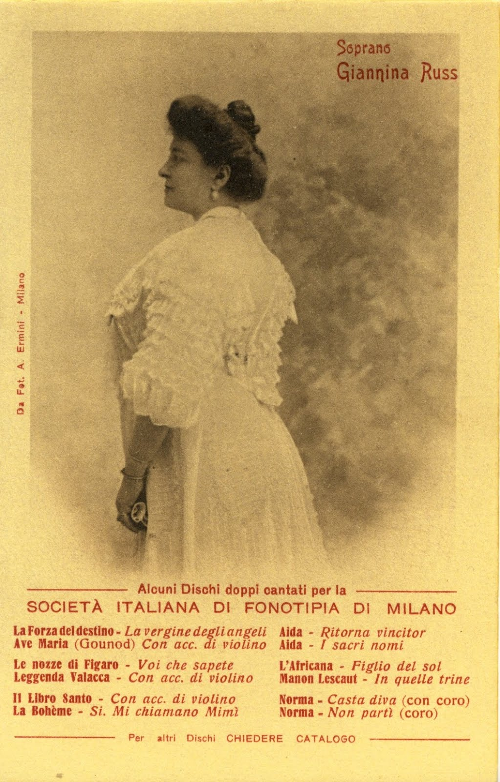 GREAT ITALIAN SOPRANO GIANNINA RUSS (1873 – 1951) CD