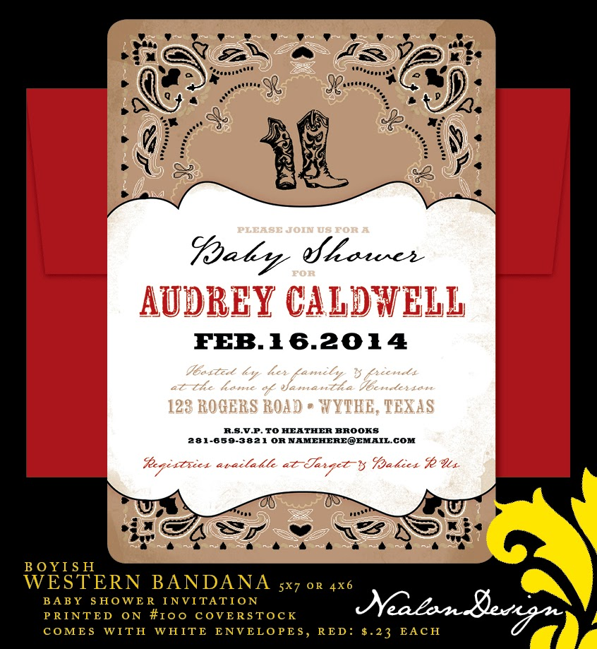 nealon design western bandana baby shower invitation