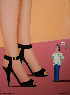 A shrunken man with his jaw dropped at the sight of a woman's legs and shoes.