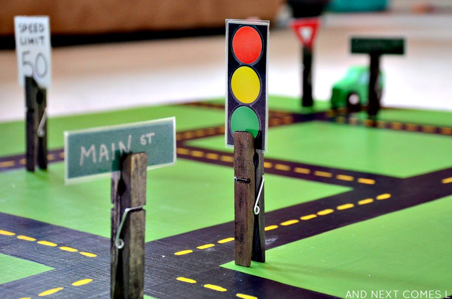 Homemade toys for kids: DIY road signs for car play from And Next Comes L