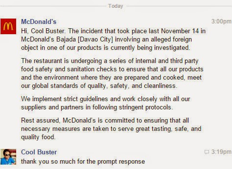 McDonald's Statement