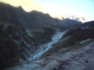 The narrow stream of the Alaknanda River after Devprayag along the Badrinath route in the Himalayas