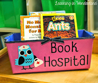 http://www.learninginwonderland.com/2014/10/book-hospital-bright-idea-for-classroom.html