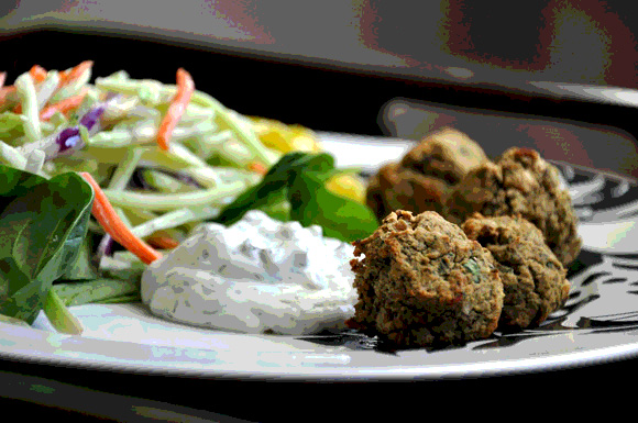 falafel with leftover vegetables