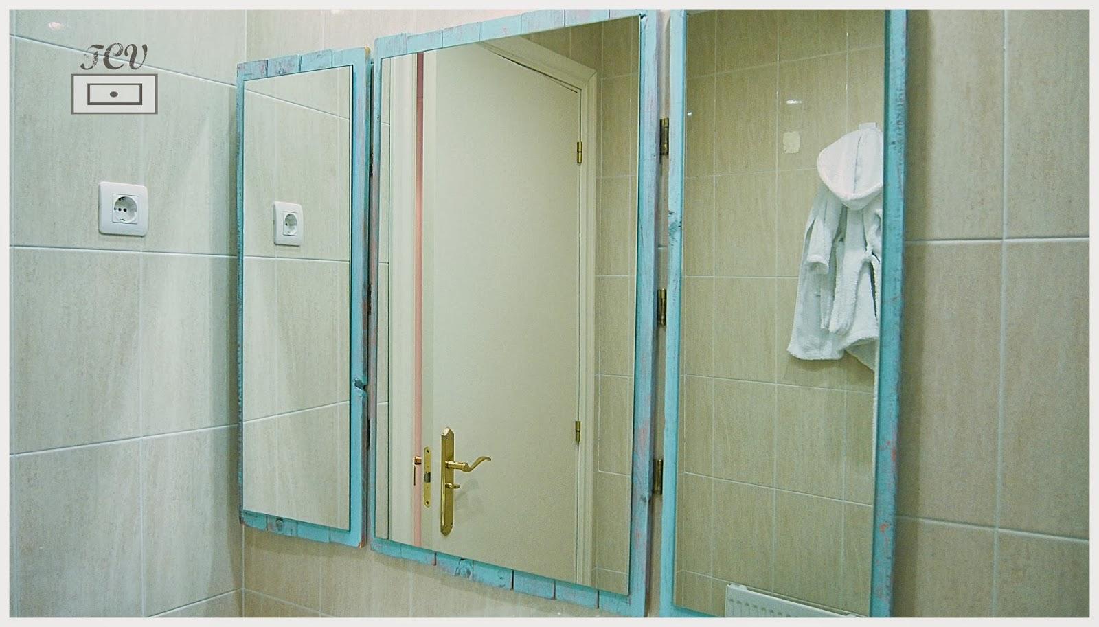 Diy espejo tr ptico bastante r stico tu caj n vintage for Pintura para hacer espejos