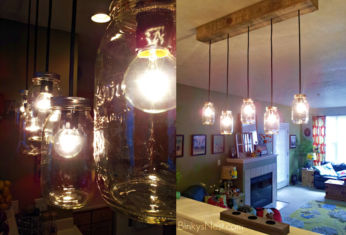 Twenty8divine mason jar rustic pallet light fixture diy for Suspension plusieurs ampoules