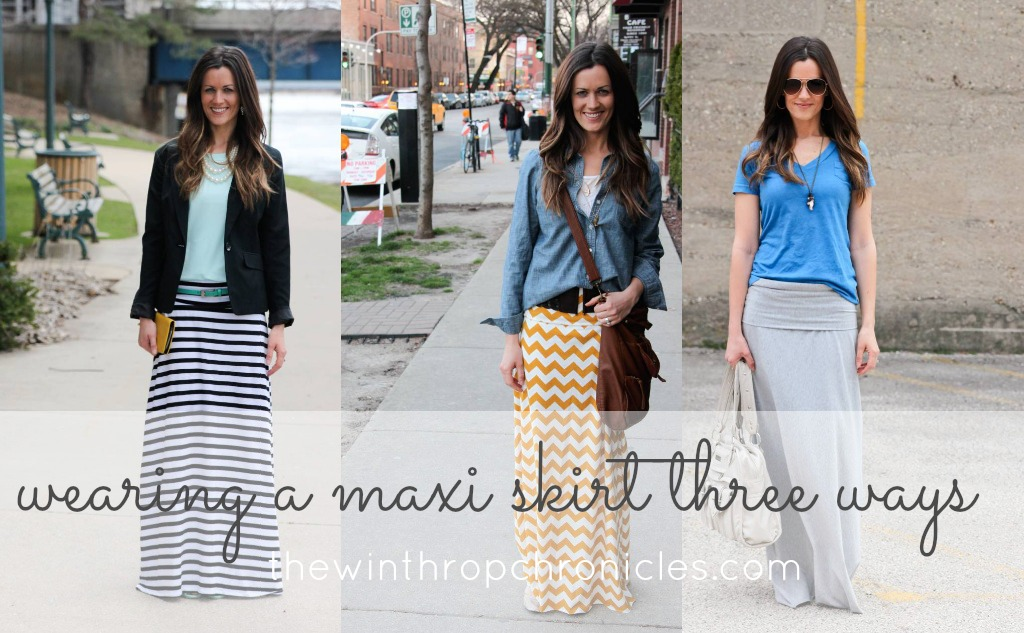 image what to wear a maxi skirt with shirt