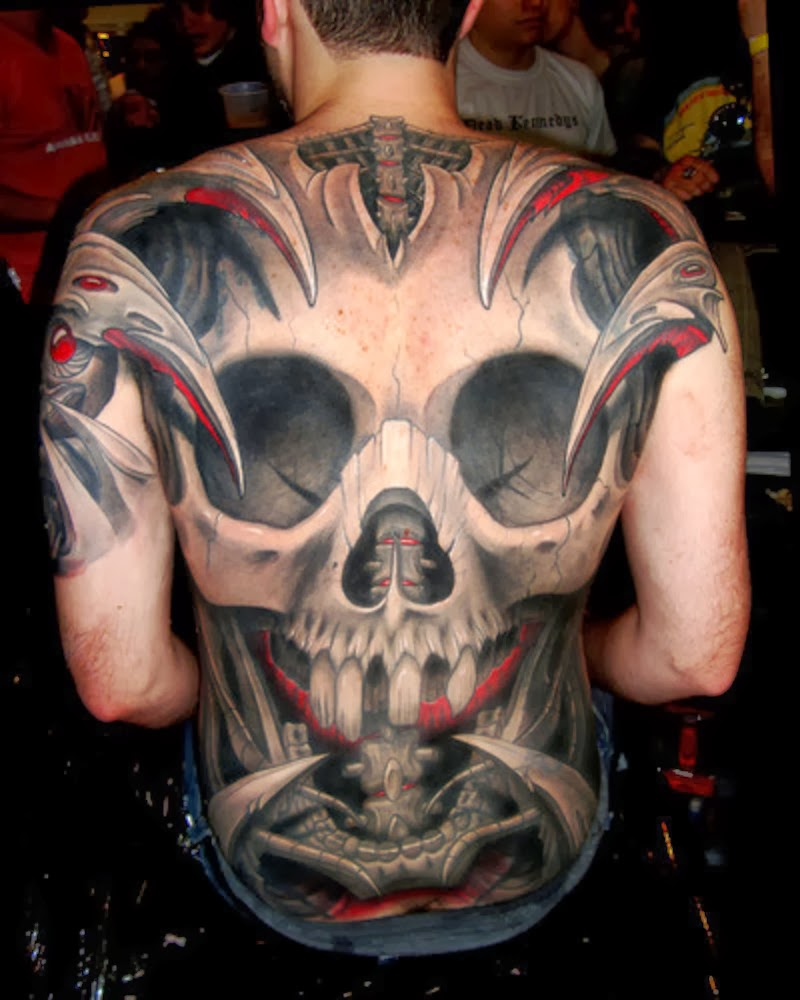 Tribal Back Tattoos| Tribal Skull Back Tattoo Designs