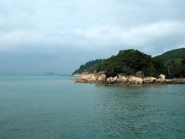 Ocean and island view from Yung Shue Wan ferry port, Lamma Island, Hong Kong