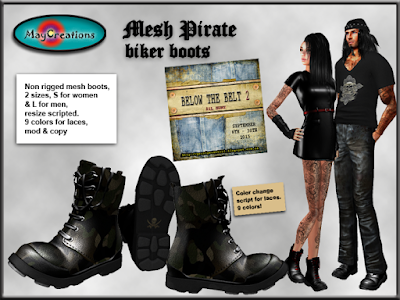 MayCreations Mesh pirate biker boots