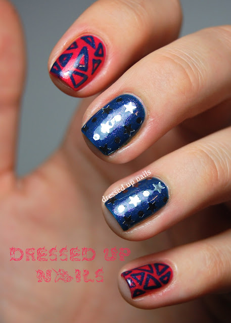 Dressed Up Nails - star glitter and freehand triangle nail art