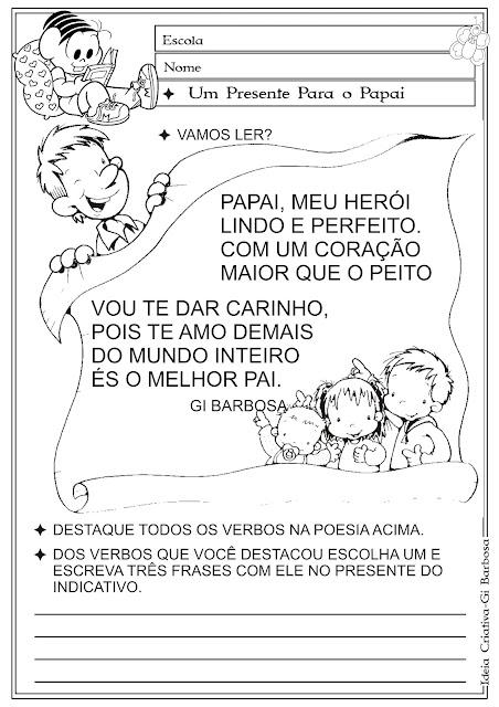 Atividade Verbos / Temática Dia dos Pais