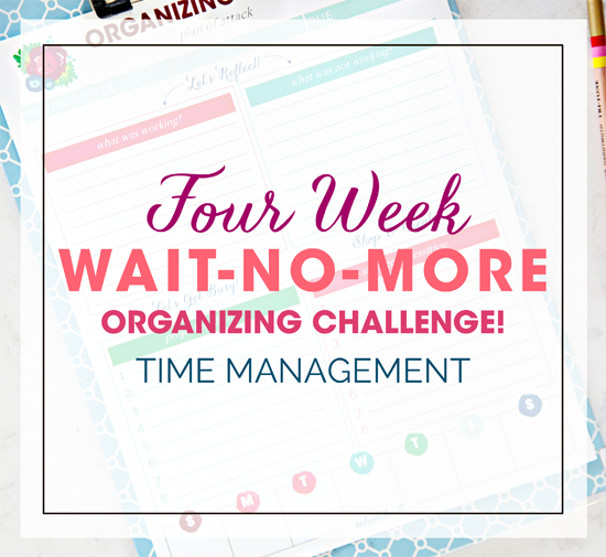 """Four Week """"Wait-No-More"""" Organizing Challenge! Week 1 - Time Management Organization (and a link party)"""