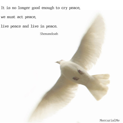 It's no longer good enough to cry peace, we act peace, live peace and live in peace