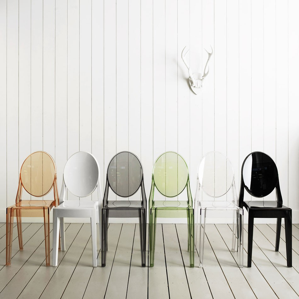 Victoria Ghost™ Chair, Black / Plastic / Kartell