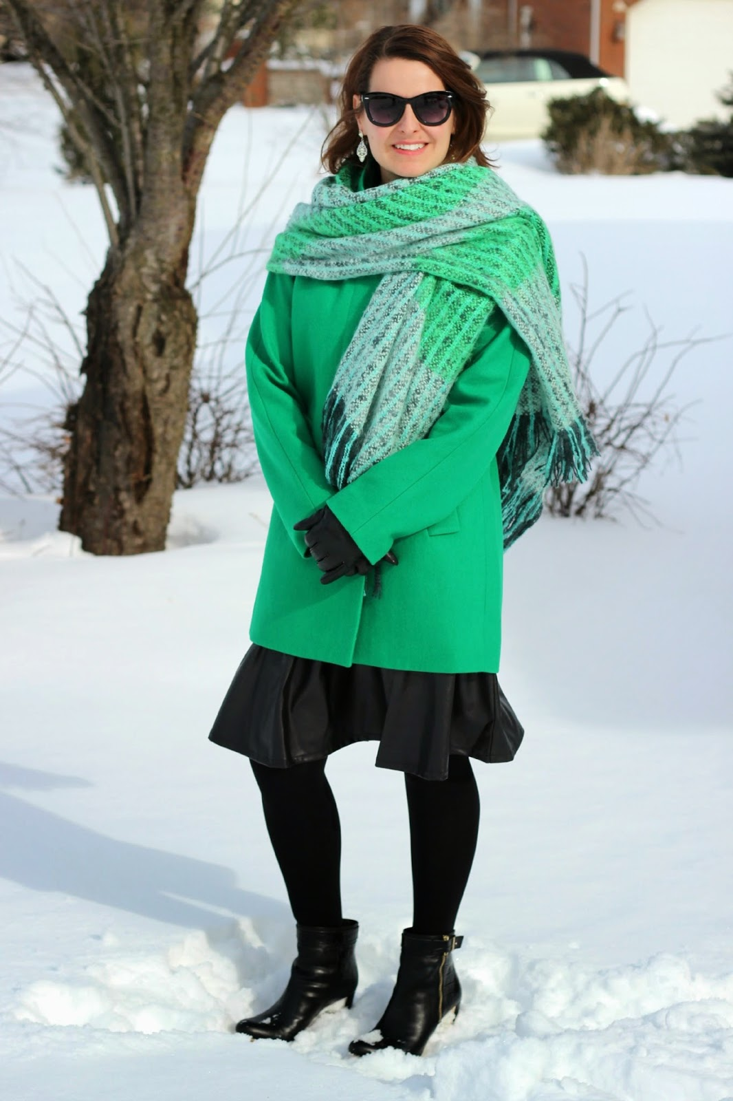 J crew Kelly green coat, green blanket scarf, black faux leather skirt, Black booties, winter outfit, winter look