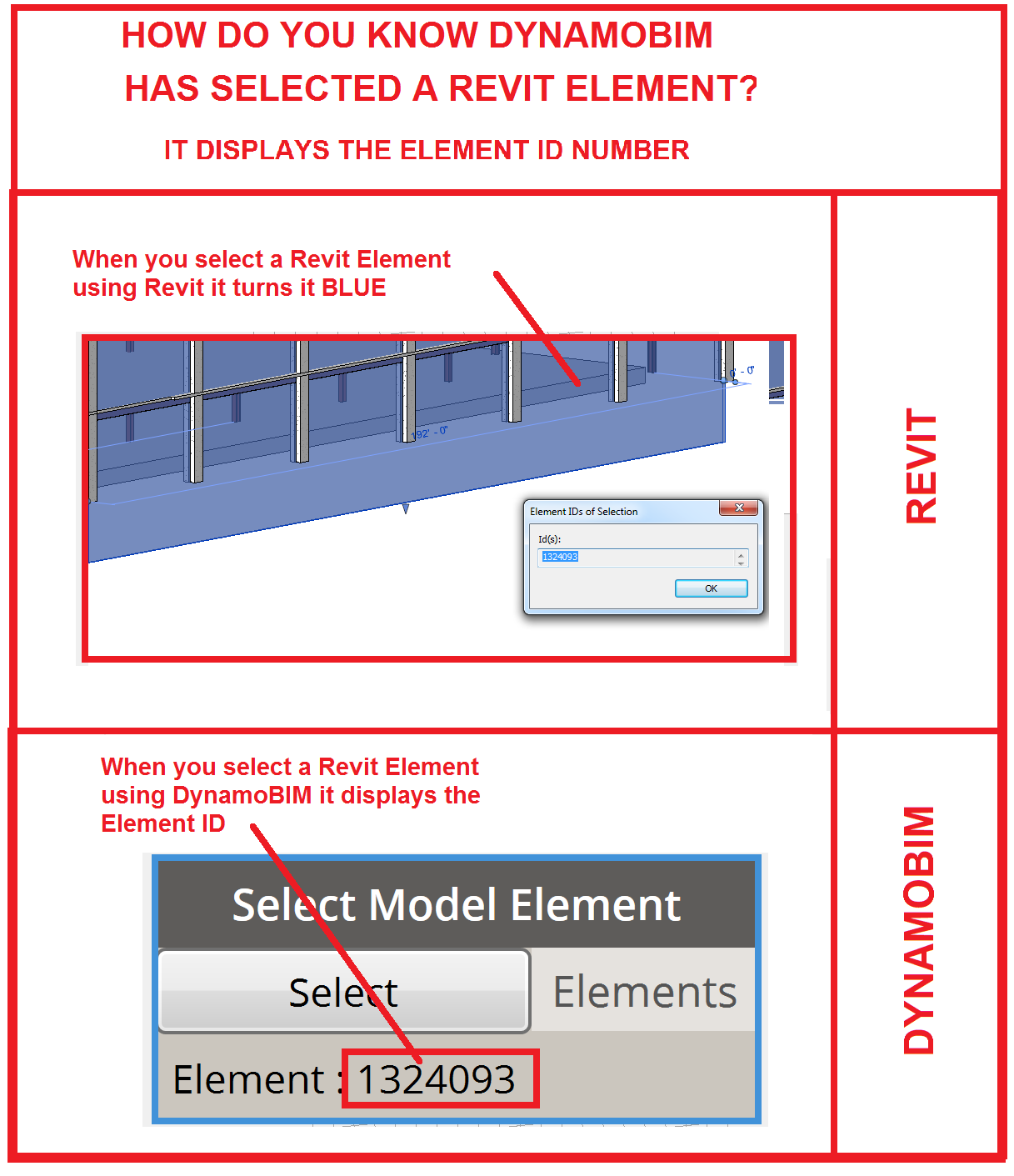How do you know you selected a Revit Element using DynamoBIM?