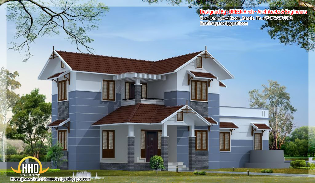 Transcendthemodusoperandi 4 bhk sloping roof home design 1850 - Houses atticsquare meters ...