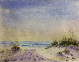Water colour painting of a morning scene at a seashore by Manju Panchal