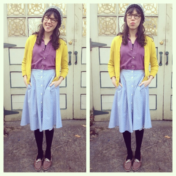 vintage skirt with j.crew cardigan