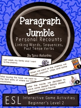 http://www.teacherspayteachers.com/Product/Personal-Recounts-Linking-Words-Past-Tense-Verbs-Paragraph-Sequencing-1513873
