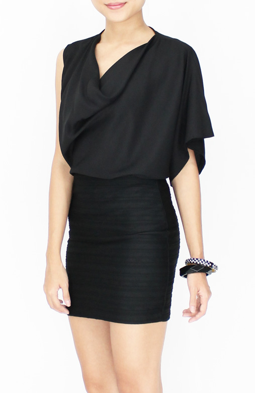 Edgy Black Rare One Sleeve Top with Drape Neck