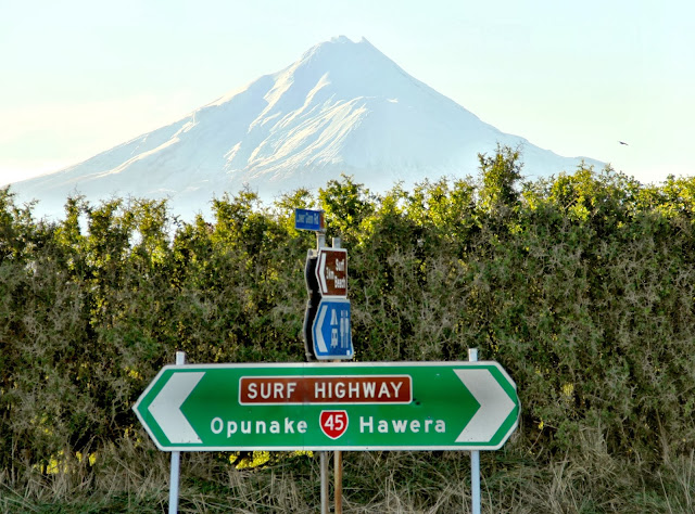 Surf Highway 45 with Mount Taranaki in the background