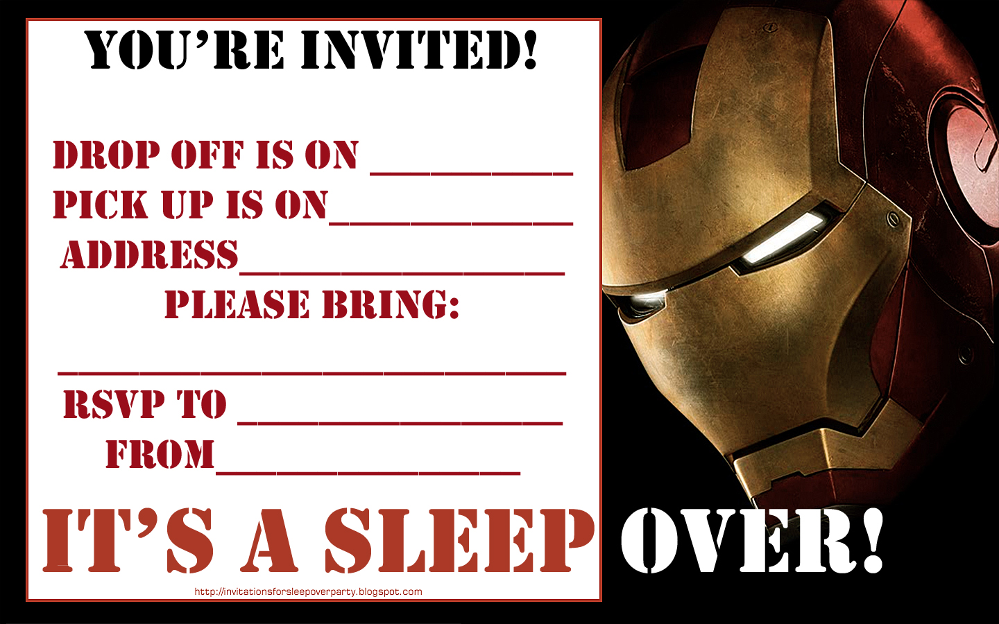 Colorful Iron Man Party Invites Ornament Invitation Card